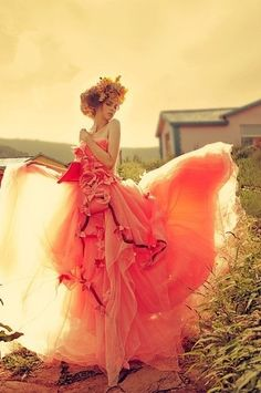 Ethereal flowy coral gown + floral headpiece <3