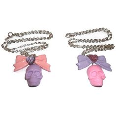 Pastel Skull Necklace, Kawaii Cute Bow Sparkly Heart, Pastel Goth... (56 BRL) ❤ liked on Polyvore featuring jewelry, necklaces, accessories, fillers, pastel goth, heart pendant, skull chain necklace, skull pendant necklace, skull necklace and bow chain necklace