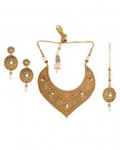 Golden Beaded Necklace Set with Oval Shape Maang Tikka - Wedding