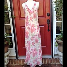 """Valerie Stevens Maxi Dress Sheer and light polyester dress with adjustable straps and full lining. Bust is 36"""" and length from underarm is 45"""". Great for a warm summer day or as a swimsuit cover. Valerie Stevens Dresses Maxi"""