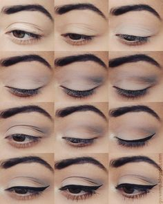 3. Take a lilac-white-grey-ish eyeshadow and apply this to your whole lid.  4. Blend out the edges of your eyeshadow.  5. Apply a tiny bit of petroleum/navy eyeshadow as shown.  6. Also, put a little bit of a (light) brown color in between two eyeshadow colors you already have on.   7+8. Now gently blend the colors!  9+10. Create a winged eyeliner ;)