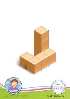 Bouwkaart 10 moeilijkheidsgraad 2 voor kleuters, kleuteridee, Preschool card building blocks with toddlers 10, difficulty 2.