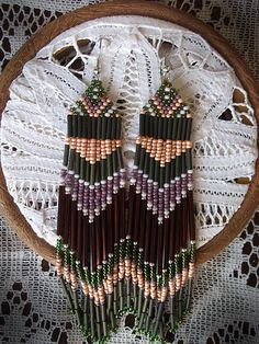 Handmade Native American Beaded Earrings-Army Green, Peach, Purple, Maroon-Made to order. $35.00, via Etsy.