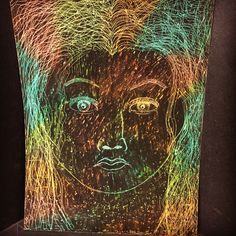 Oil Pastel Scratch Portrait by NyxStudioArt 2d Art, Nyx, Pastel, Portrait, Artwork, Silver, Painting, Work Of Art, Headshot Photography