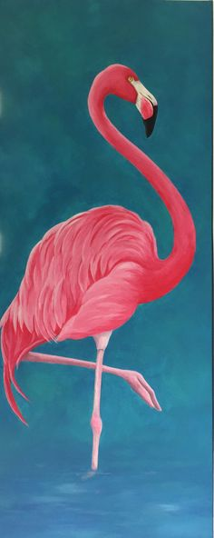 This is a Gorgeous Pink Flamingo Acrylic 16x 40 Painting. This bright pink beauty is ready to hang in your tropical beach house or cottage by