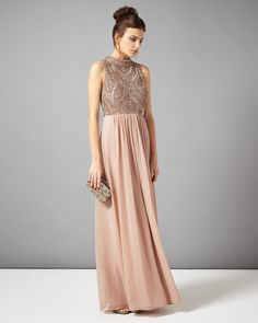 Black Tie Dresses | Pink Mariella Embellished Full Length Dress | Phase Eight
