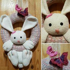 Crochet wreath, bunny wreath
