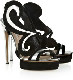 Nicholas Kirkwood Silver Metallic Leather and Suede Sandals
