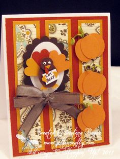Punch art Thanksgiving card by Cristena Bagne Fall Cards, Holiday Cards, Owl Punch, Punch Art, Paper Punch, Scrapbook Cards, Scrapbooking, Stampin Up, Thanksgiving Cards