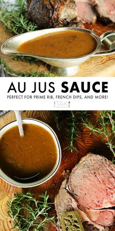 A seriously easy prime rib Au Jus sauce that comes together quickly in just 10 minutes or less! Can be made with or without beef drippings! Rib Recipes, Roast Recipes, Sauce Recipes, Dinner Recipes, Cooking Recipes, Water Recipes, A Jus Sauce Recipe, Grilling Recipes, Smoker Recipes