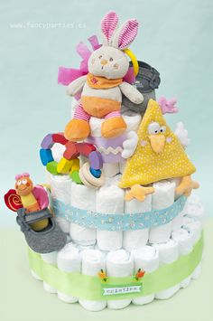 Colorfull Diaper's Cake by www.fancyparties.es