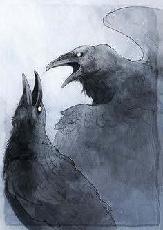 "In Norse mythology, Huginn (""thought"") Muninn (""memory"") are a pair of ravens that fly all over the world, Midgard, to bring information to the god Odin. In the Poetic Edda, a disguised Odin expresses that he fears that they may not return from their. Crow Art, Raven Art, Bird Art, Gravure Photo, Blackbird Singing, Raven Tattoo, Deer Tattoo, Tattoo Ink, Arm Tattoo"