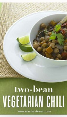 Two-Bean Vegetarian Chili | Martha Stewart Living - Because they're high in soluble fiber, beans are a cholesterol fighter's best friend. We like the black-bean and chickpea combination, but feel free to use your favorites.