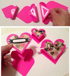 6. Place adhesive on each folded down piece. Attach the appropriately-sized decorated heart to each taped/glued section.