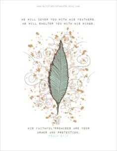 "Scripture Art Print. Psalm 91:4. ""He WILL SHELTER You"". Feather Artwork. Christian Art. hand drawn feather. Mint Feather Art print."