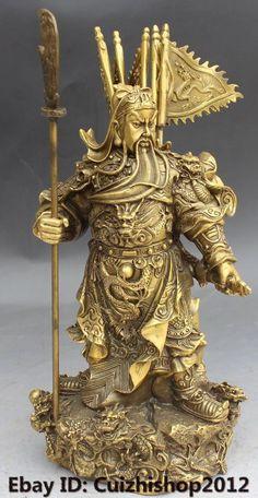 China Bronze Stand 9 Dragon Sword Guan Guan Yu Warrior God Knight General Statue