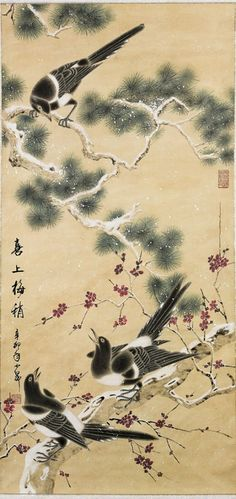 Chinese Paper Scrolls: Various Birds