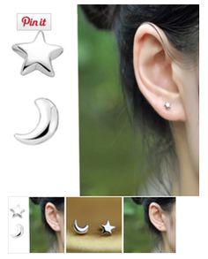 Lovely  Pair Women Creative Moon Star 925 Silver Ear Earrings #Jewelry #Gift Girls Hot #Sale  http://krat.im/682
