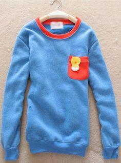 Blue Pocket Round Neck Sweatshirt$39.00