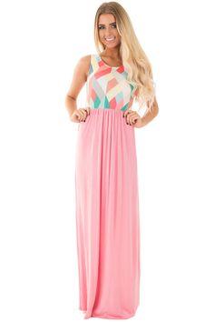 Lime Lush Boutique - Coral Sleeveless Maxi Dress with Geometric Print, $39.99 (https://www.limelush.com/coral-sleeveless-maxi-dress-with-geometric-print/)