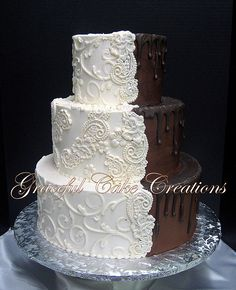 Bride and Groom Wedding Cake with Lace Applique | Grace Tari | Flickr