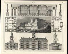 Architecture Detailed Floor Plan 1855 old vintage fascinating engraved print #Realism