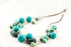 Summer Necklace Turquoise Blue Beaded Chunky Fleted by DevikaFelt, €32.00