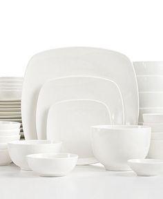 White Elements Dinnerware, Hampton Square 42 Piece Set - White Dinnerware. My new dishes!!! #macysdreamfund