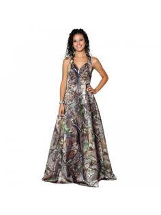 Sexy Halter A Line Multi Color Camo Wedding Dress GWD005