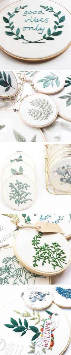 In Sew & Saunders' embroidery, the greenery are the stars of the hoop. There's a variety, from broad leaves to tiny buds, all that are an homage to nature.