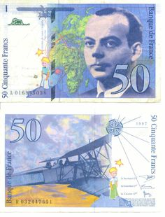The 50 francs Saint-Exupery is a bank note in French francs bearing the effigy of the writer and aviator Antoine de Saint-Exupery. Replacing the 50 francs Quentin de La Tour, it was created by the Bank of France March 10, 1992 and came into circulation on October 20 19 931 2.1.  Its circulation ceased on December 31, 2001 when the euro banknotes came into circulation. On a personal note, I've been lucky enough to get 2 notes in order to framed them. Note The Little Prince on both sides.