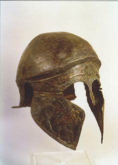 Etruscan bronze helmet of Chalcidian type.