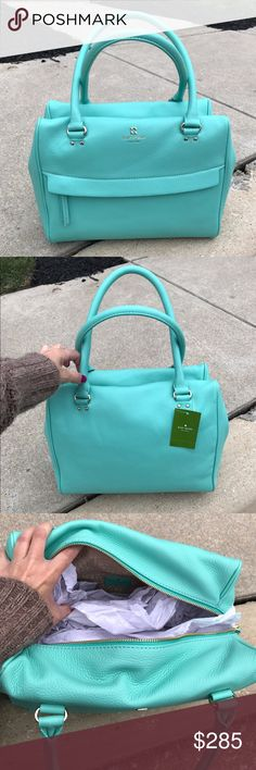 """Mint Kate 💎 Spade Shelby purse The most beautiful color, called """"fresh air"""" Shelby style purse, brand new with tags, fit a a lot and flexible real leather! Make me an offer reg $398... won't last long in my closet! Think spring! 😁 12"""" x 10"""" x 6"""" kate spade Bags"""