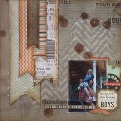 Mister Fox Collection kit club - Layout one. April 2014 MakeApage Scrapbooking