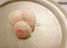 Bobby pin wedding hair clip  silk flower peonies champagne bridal hair piece custom - pinned by pin4etsy.com