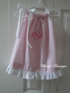 Pink Gingham Monogram Dress by Cheryl's Bowtique 2011 Summer Collection