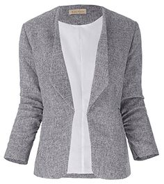 Gray Textured Open Front Casual Jacket Office Ladies Slim Blazer Size L KK4701 *** You can find more details by visiting the image link.(This is an Amazon affiliate link and I receive a commission for the sales)