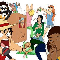 Straw Hat Pirates crew playing Monopoly - Monkey D. Luffy, Tony Tony Chopper…