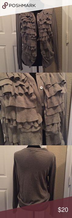 Banana Republic ruffled cardigan Gray. Ruffles in front. Banana Republic Sweaters Cardigans