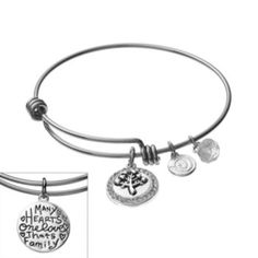 love this life Silver-Plated & Stainless Steel Crystal Family Tree Charm Bangle Bracelet