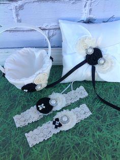 YOU DESIGN / flower girl basket , ring bearer pillow & wedding garter