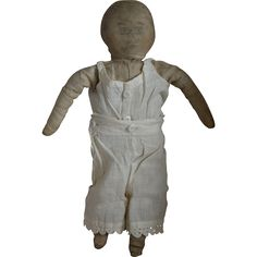 Primitive Old Folk Art Cloth Doll with Ink Drawn Face