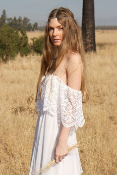 White Hippie Wedding Dresses s Hippie Wedding Gown