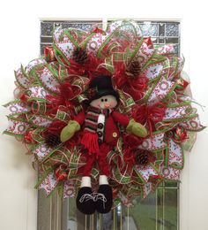 Hey, I found this really awesome Etsy listing at https://www.etsy.com/listing/202654409/snowman-deco-mesh-christmas-wreath