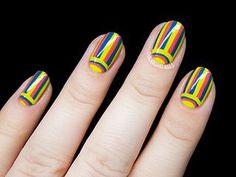 Pinstripe and Damask Nail Art Inspired by Tory Burch | Chalkboard Nails | Bloglovin