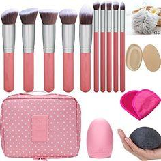 Makeup Brush Set - Makeup Cosmetic Bag, Makeup Remover Cloth Chemical Free, Cleaning Makeup Washing Brush, Konjac Sponges, Bath Shower Sponge Pouf, 2in1 Makeup Sponge Blender  #MakeupBrushesTools