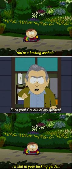 When Cartman talks about Game of Thrones with rest of the gang one by one, and the old man keeps showing up