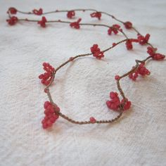 Pink Raspberry Flower crocheted hypoallergenic seed bead necklace on Etsy, $37.00