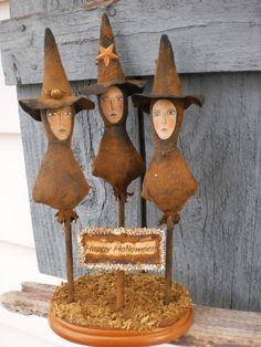 Primitive Halloween Three Witches FolkArt Fun by leighsstonehouse, $72.00