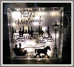 Glasblok voor kerst met vinyl